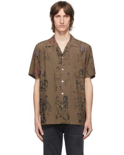 Сатиновая черная рубашка с короткими рукавами с воротником с заплатками Wacko Maria