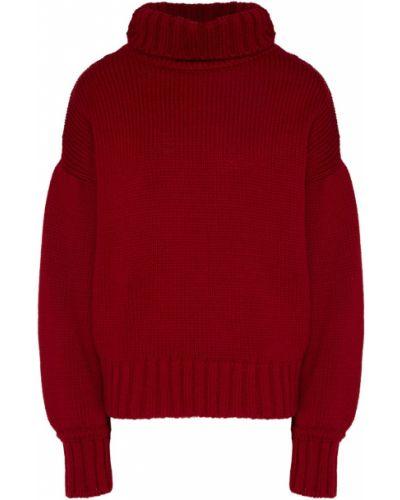 Красный акриловый свитер с воротником с декоративной отделкой Laroom