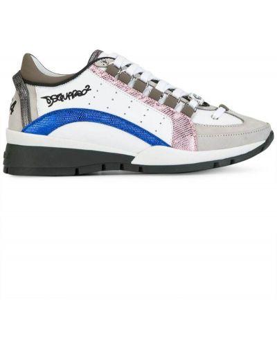 Кожаные кроссовки с вышивкой со змеиным принтом Dsquared2