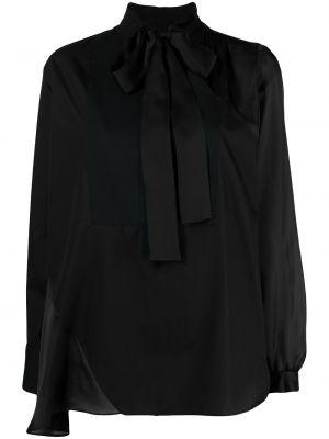 Черная блузка прозрачная с бантом Sacai