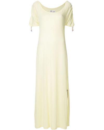 Платье мини с вырезом желтый Pitusa