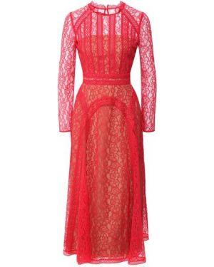 Красное платье миди из вискозы с подкладкой Self-portrait