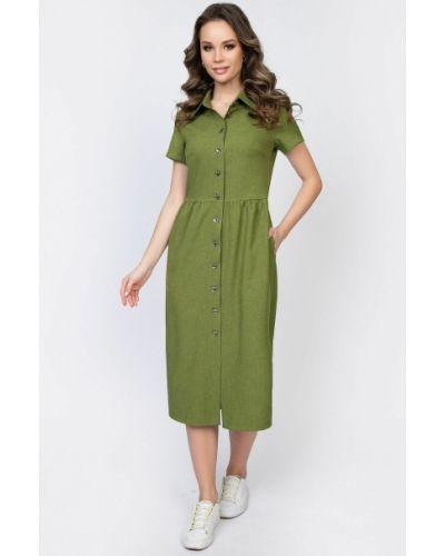 Платье-рубашка из вискозы на пуговицах с карманами Diolche