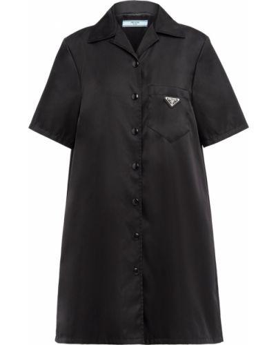 Платье рубашка - черное Prada