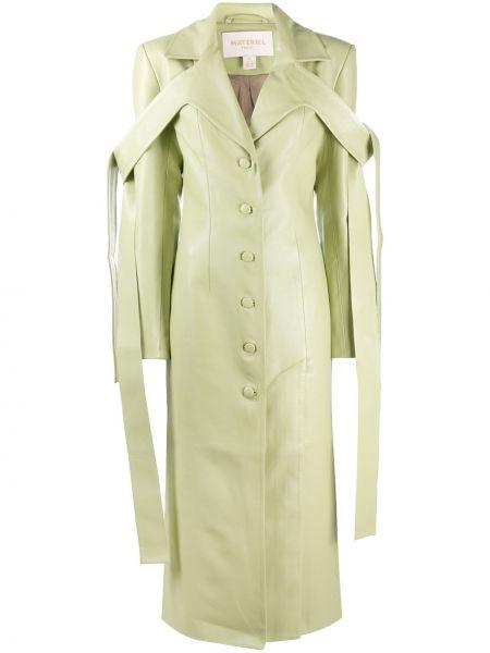 Облегающее зеленое длинное пальто на пуговицах Matériel