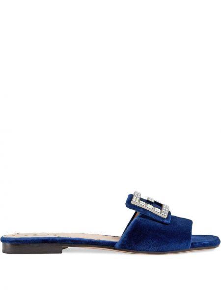 Niebieskie klapki skorzane klamry Gucci