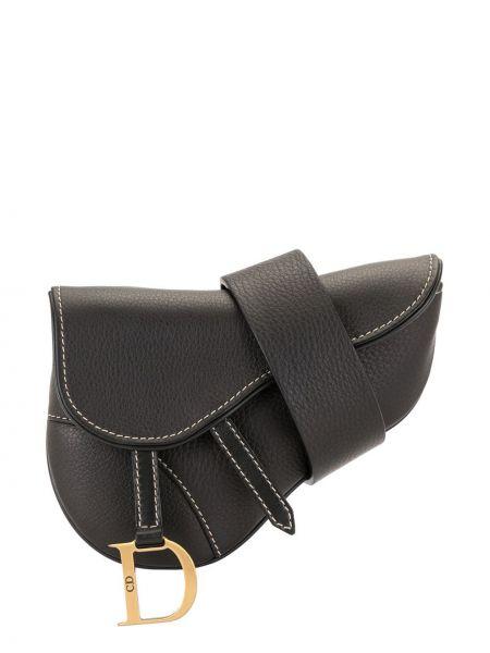 Czarny pasek skórzany z paskiem Christian Dior
