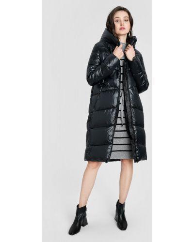 Черное длинное пальто с капюшоном на молнии Ostin