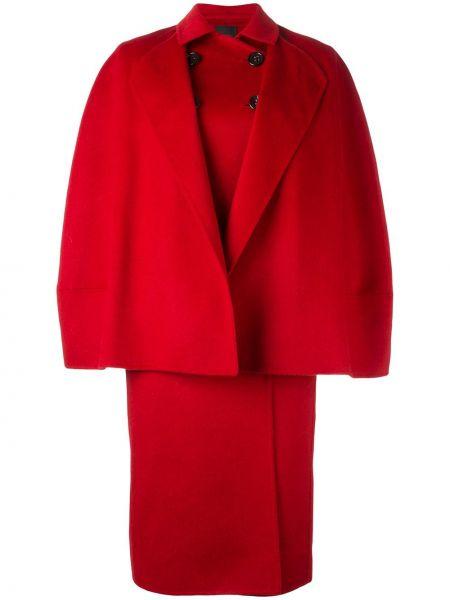 Красное шерстяное пальто с капюшоном Agnona