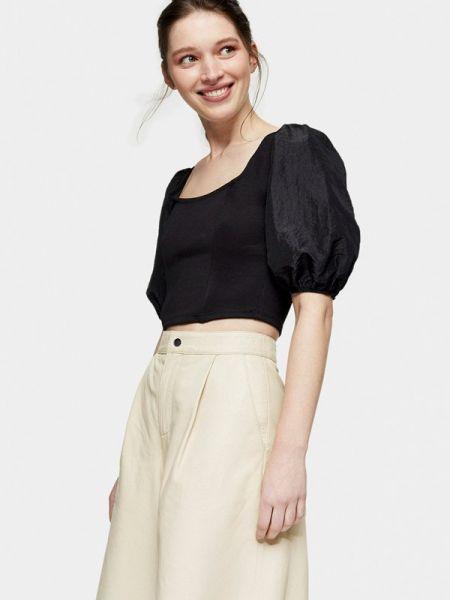 Блузка с коротким рукавом черная весенний Topshop