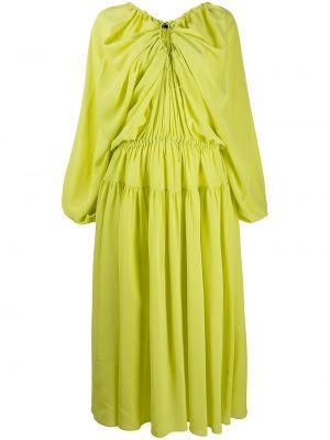 Żółta sukienka długa rozkloszowana z jedwabiu Rochas