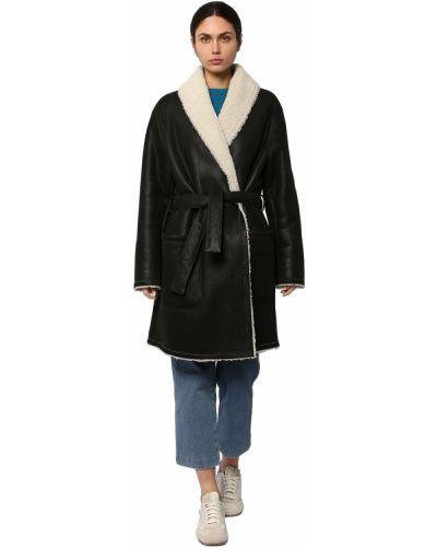 Черное пальто с карманами с лацканами Loewe