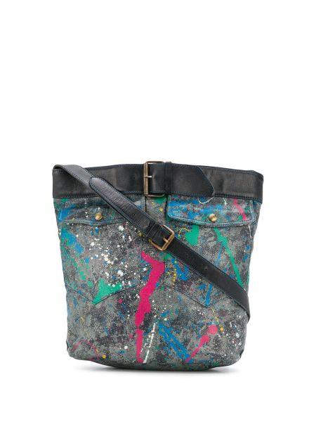 Серая парусиновая кожаная сумка Moschino Pre-owned
