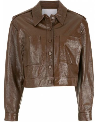 Коричневая кожаная короткая куртка с воротником Nk