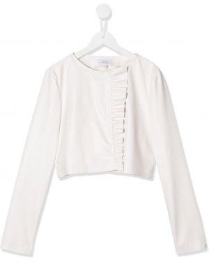 Biała długa kurtka skórzana z długimi rękawami Aletta