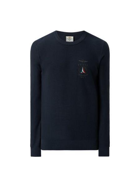 Niebieski sweter bawełniany z haftem Aeronautica Militare