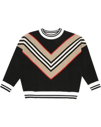 Wełniany czarny sweter z paskami Burberry Kids