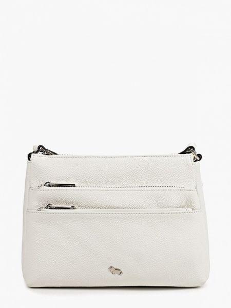 Белая кожаная сумка с перьями из натуральной кожи Labbra