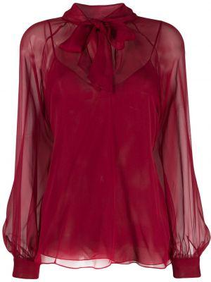 Шифоновая блузка с длинным рукавом с бантом прозрачная свободного кроя Emilio Pucci
