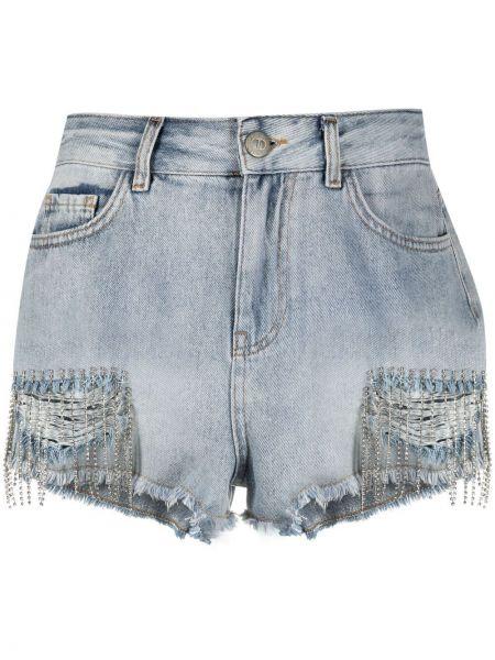 Джинсовые шорты с завышенной талией - синие Twin-set