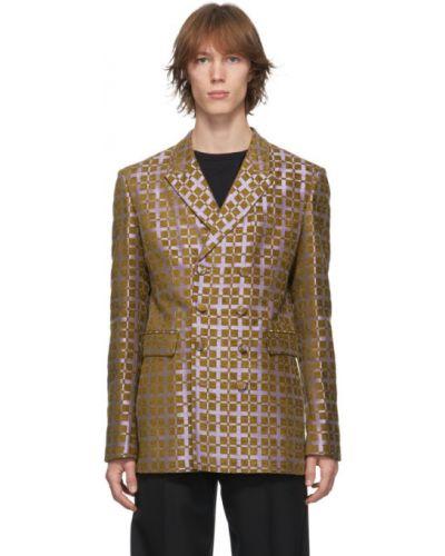 Малиновый удлиненный пиджак двубортный с карманами Haider Ackermann