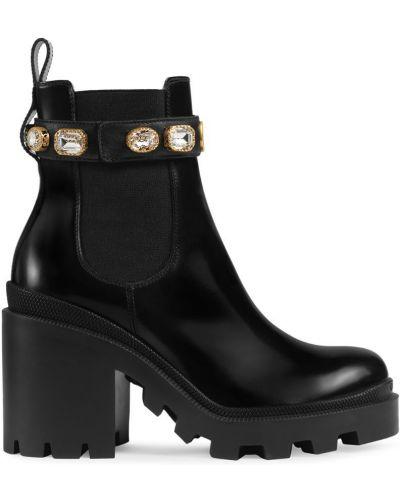 Кожаные ботильоны черные на каблуке Gucci