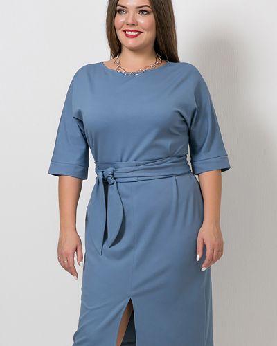 С рукавами трикотажное платье миди с поясом Modellos