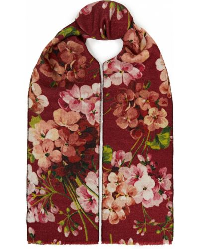 Ażurowy szalik wełniany z printem Gucci