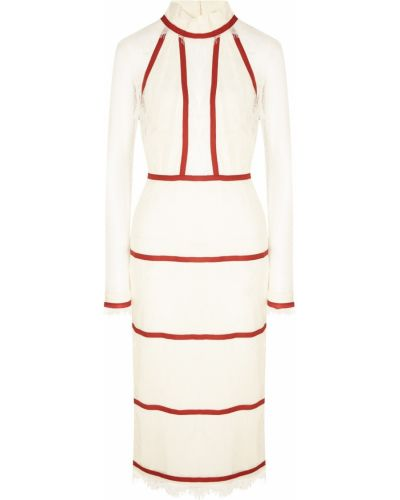 С рукавами белое платье миди с воротником Laroom
