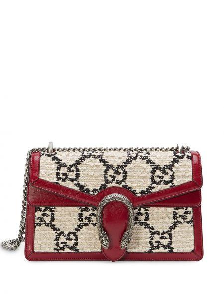Белая маленькая сумка металлическая Gucci