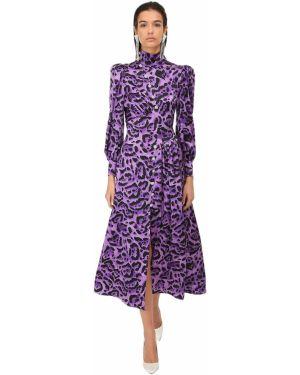 Шелковое платье миди с воротником с манжетами на кнопках Alessandra Rich
