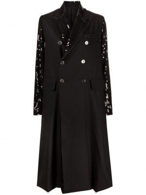 Шерстяное черное длинное пальто двубортное Junya Watanabe