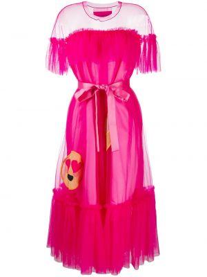Розовое платье миди из фатина со вставками с вырезом Viktor & Rolf