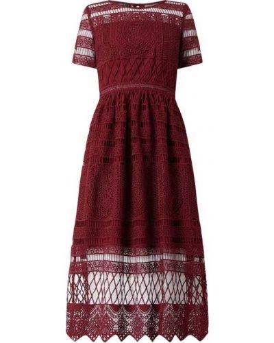 Sukienka koktajlowa rozkloszowana koronkowa krótki rękaw Apart Glamour