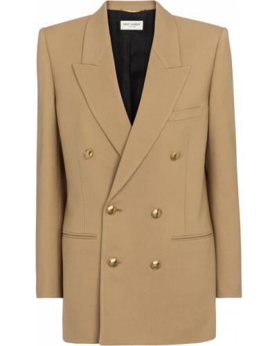 Бежевый шерстяной пиджак Saint Laurent