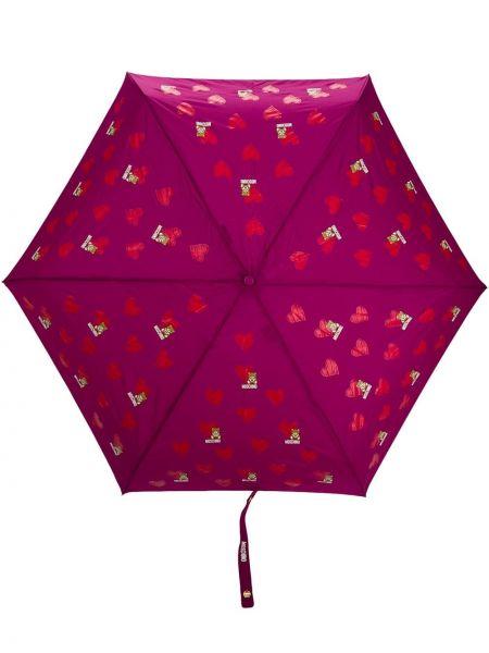 Fioletowy parasol z printem Moschino