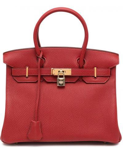 Черная кожаная сумка с ручками винтажная Hermès