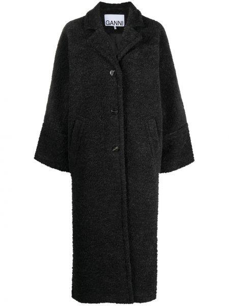 Серое длинное пальто букле с карманами Ganni