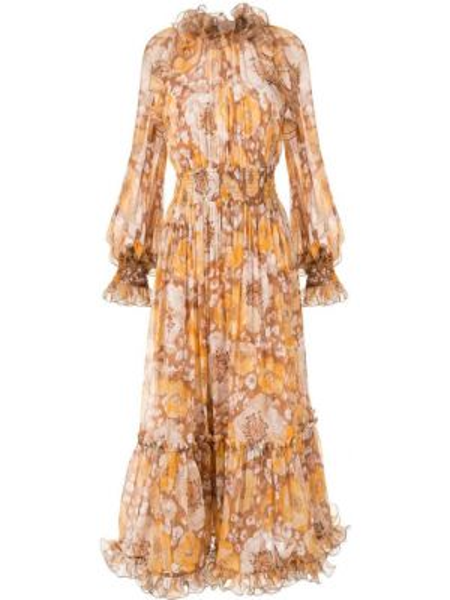 Платье миди с цветочным принтом с рукавами Zimmermann