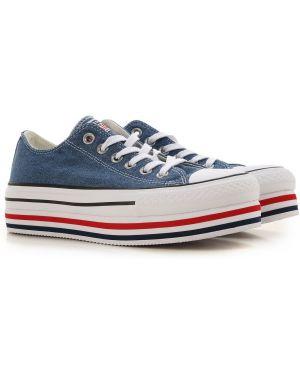 Niebieskie jeansy sznurowane materiałowe Converse