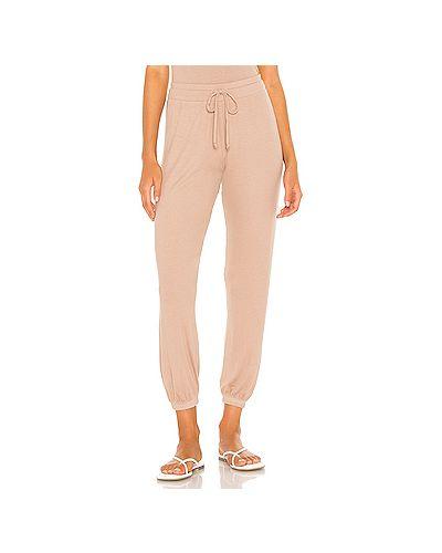 Светло-розовые шелковые брюки на резинке с завязками с поясом Lna