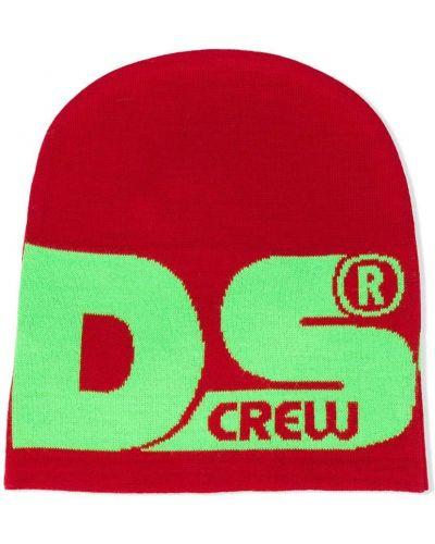 Красная вязаная шерстяная шапка Gcds Kids