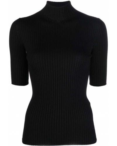Czarna koszulka prążkowana Mrz