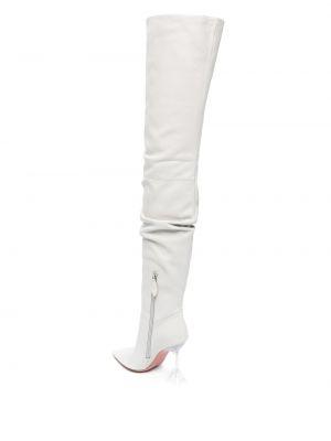 Белые кожаные ботфорты на каблуке Amina Muaddi