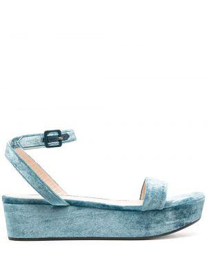 Niebieskie sandały skorzane klamry Emilio Pucci