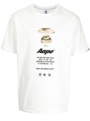 Biała koszulka z printem Aape By A Bathing Ape