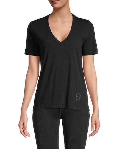Хлопковая черная футболка с V-образным вырезом Zadig & Voltaire