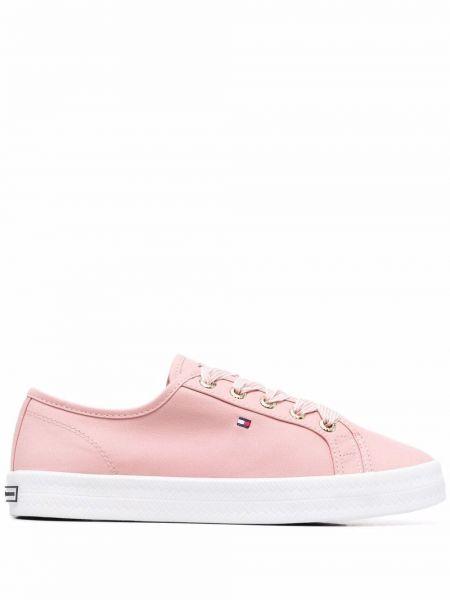 Кружевные розовые кроссовки на шнурках Tommy Hilfiger