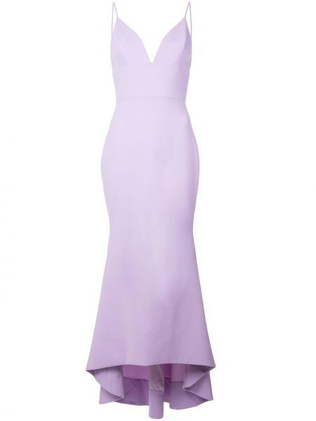 Фиолетовое асимметричное тонкое платье с V-образным вырезом Christian Siriano