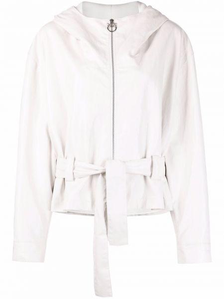 Белая кожаная длинная куртка с капюшоном Pinko
